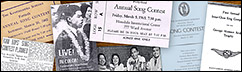 Historical montage of programs, tickets, and newspaper articles from past Song Contest competitions.